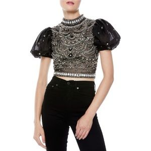 Alice + Olivia Olinda Sheer Puff-Sleevee Blouse